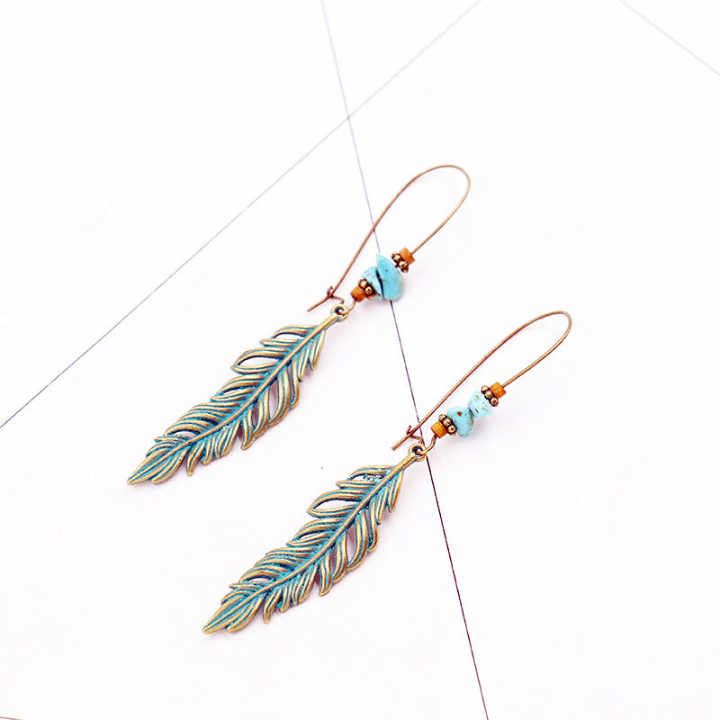 Alloy big retro leaf earrings - Zebrant