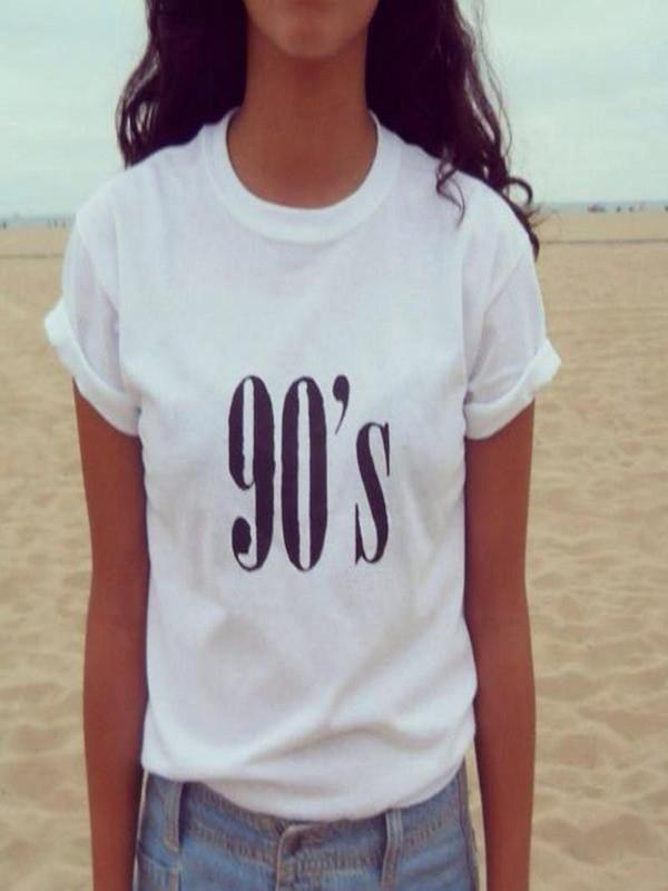 Fashion Women T shirt Casual Funny with  90's Print
