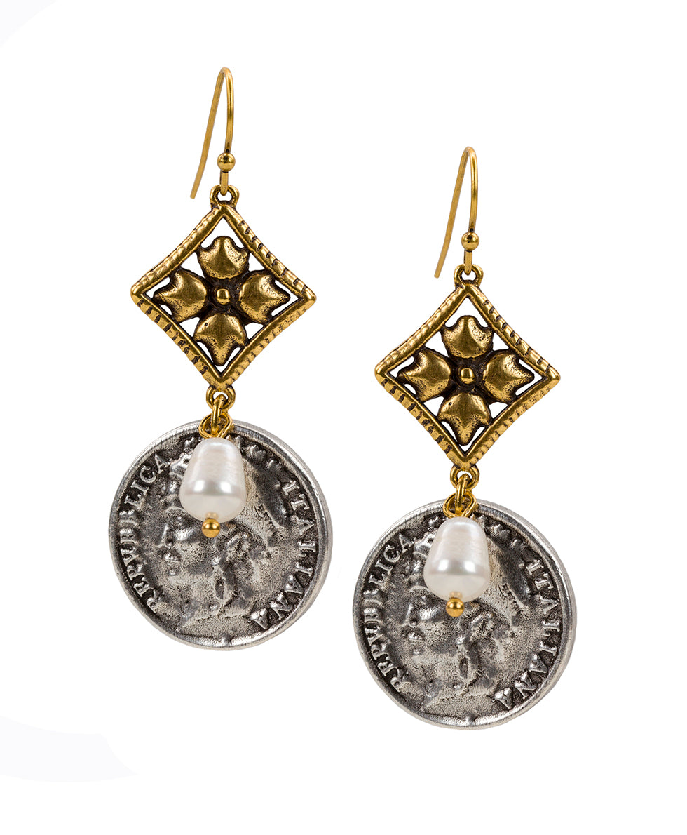World Coin Double Caged Floret Italiana Earrings