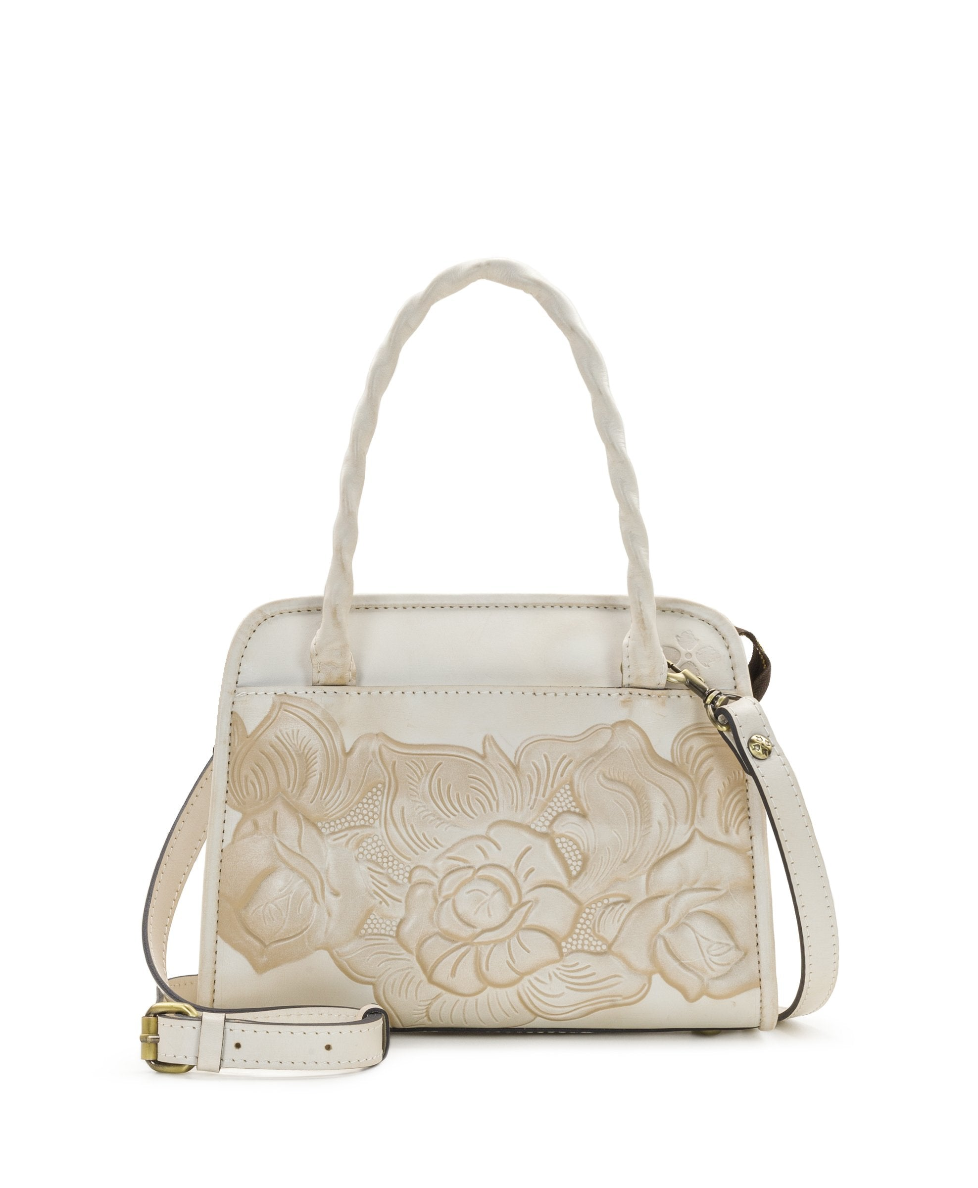 Paris Small Satchel - White Waxed Tooled
