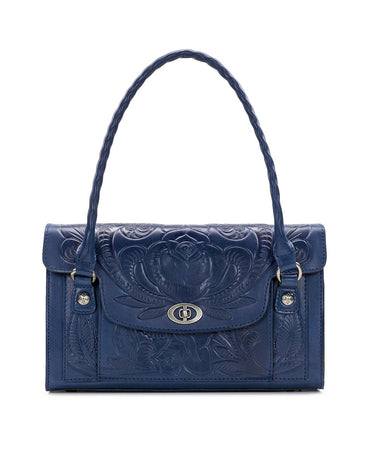 Sanabria Satchel - Waxed Tooled - Denim