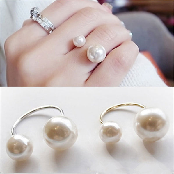 Hot Fashion women's Ring Street Shoot Accessories Imitation Pearl Size Adjustable Ring