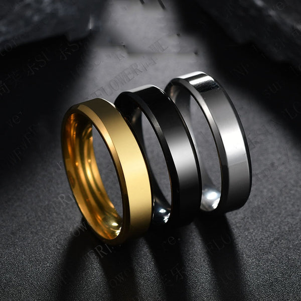 Men/Women 6mm Titanium Steel Black Finger Rings Set with Silver Plated Ring