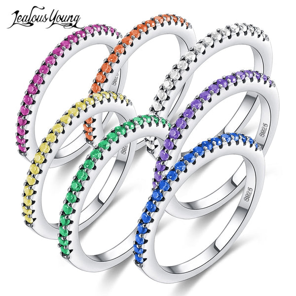 Women Fashion Multicolor Zirconia Party Engagement Ring With Silver Color Crystal Wedding Rings
