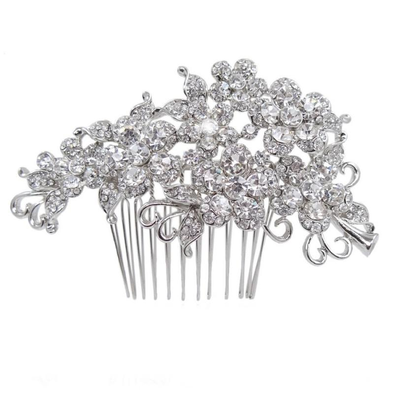 Crystal Flowers Bridal Hair Comb