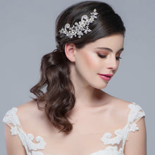 Load image into Gallery viewer, Elise Vintage Inspired Pearl & Crystal Silver Wedding Headpiece
