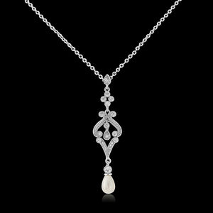 Enchanting Vintage Inspired Pearl Silver Wedding Necklace