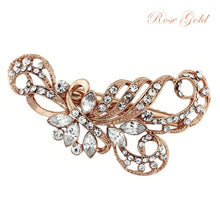 Load image into Gallery viewer, Lily Crystal Rose Gold Wedding Hair Clip
