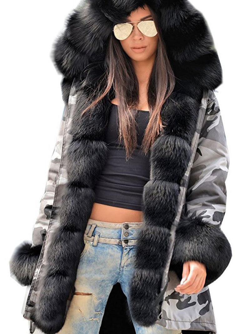 Faux Fur Hooded Camouflage Long Sleeve Overcoat Women's Winter Coat
