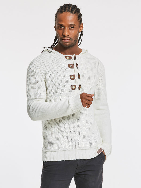 Hooded Plain Slim Stand Collar Button Decorated Men's Pullover Sweater