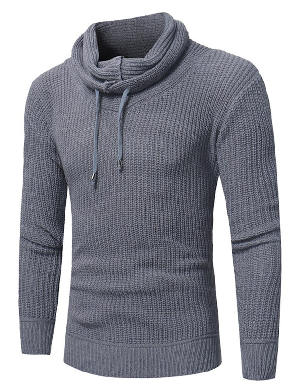 Heap Collar Solid Men's Pullover Sweater