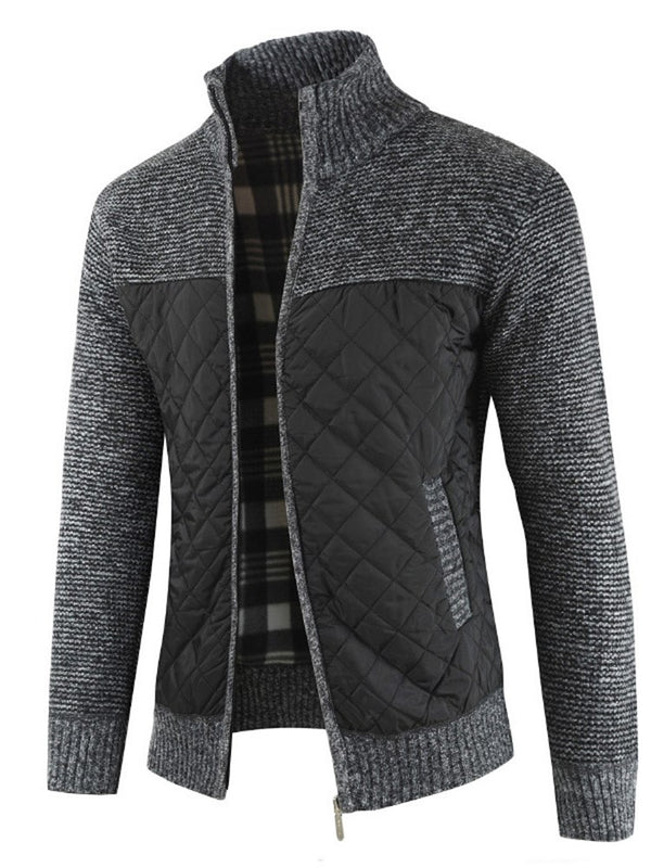 Stand Collar Patchwork Zipper Up Winter Men's Sweater