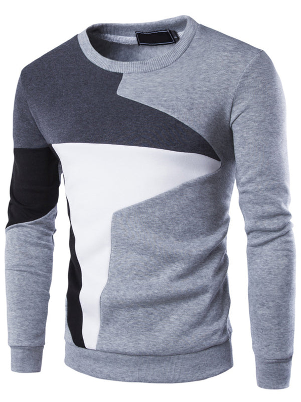 Color Block Round Neck Slim Winter Men's Pullover Sweaters