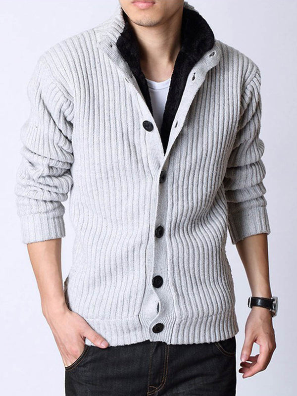 Stand Collar Flocking Single-Breasted Men's Cardigan Sweater
