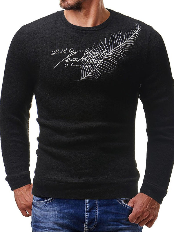 Feather Letter Embroidery Round Neck Long Sleeve Men's Slim Sweater