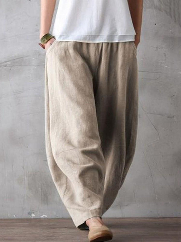 Plain Loose Mid Waist Full Length Casual Pants