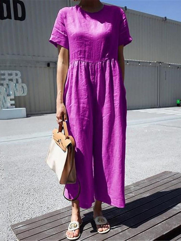 Ankle Length Western Plain Loose Jumpsuit
