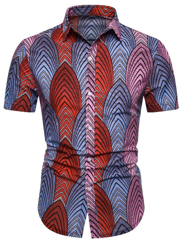 European Color Block Print Slim Einreiher Shirt