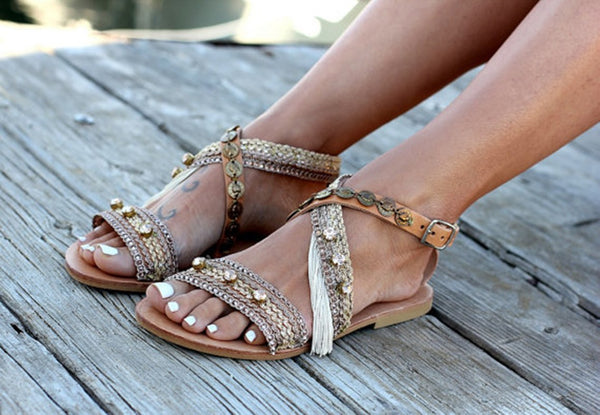Flat With Buckle Open Toe Sequin Patchwork Sandals