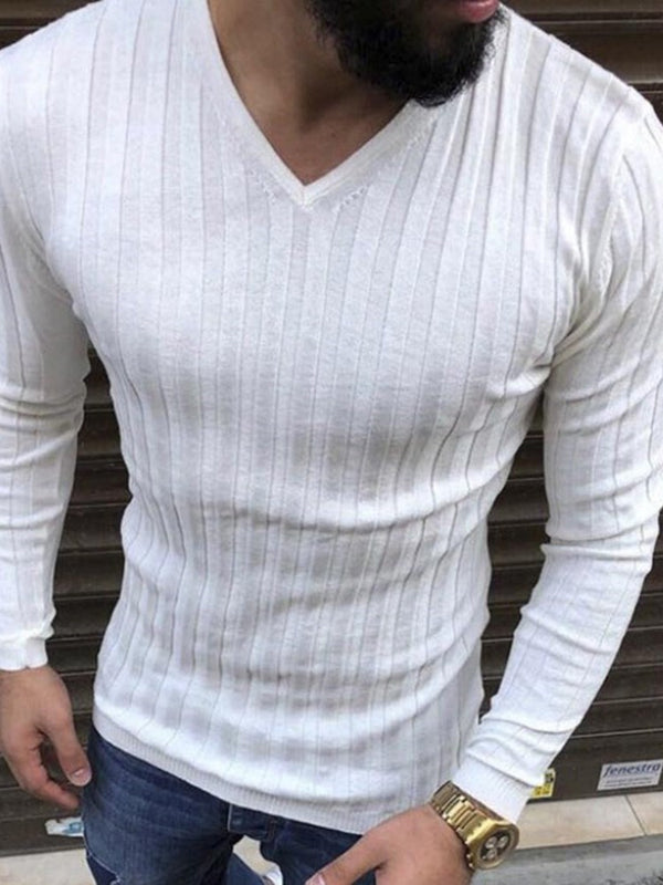 V-Neck Plain European Slim Long Sleeve T-shirt