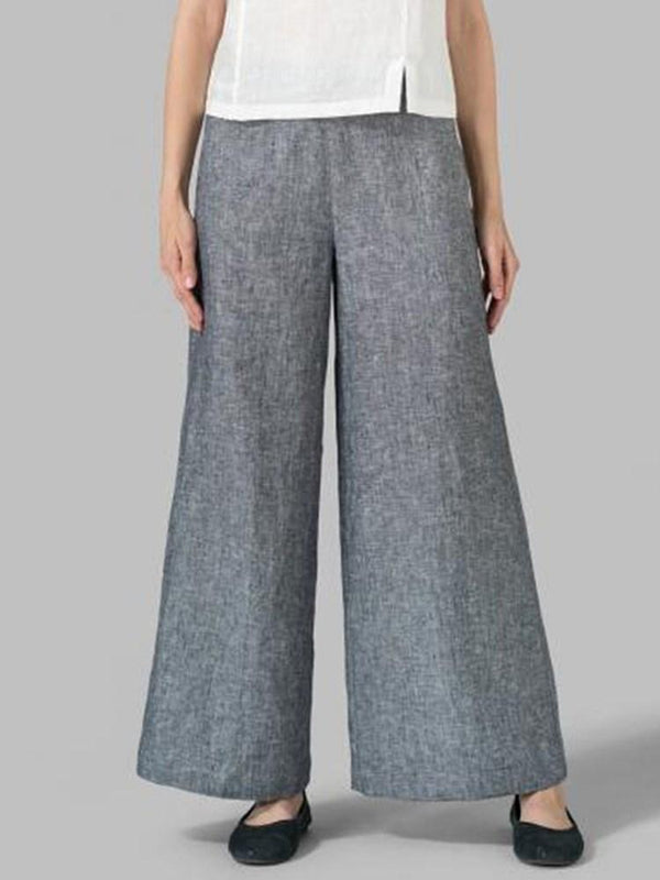 Plain Loose Wide Legs Full Length Casual Pants