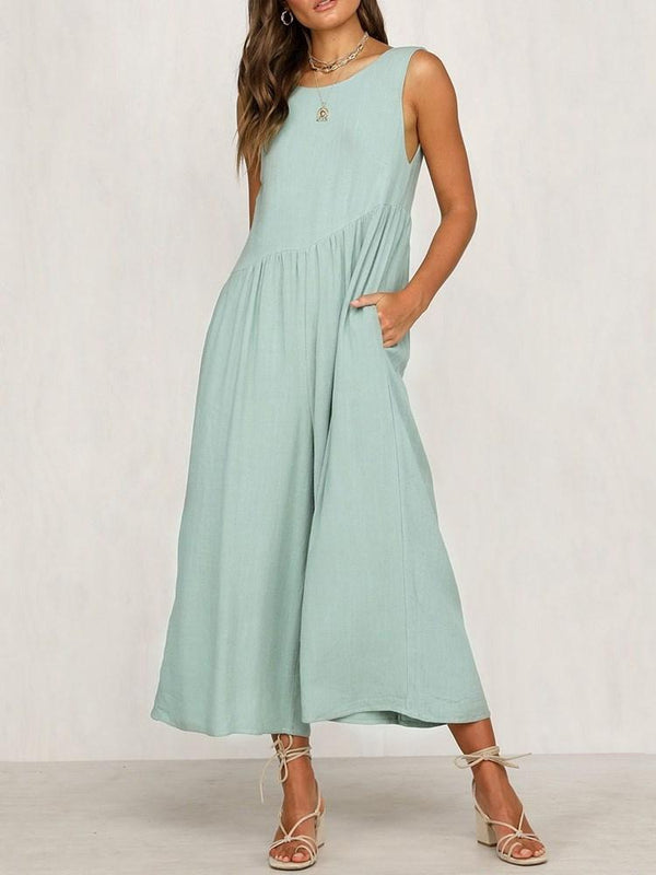 Plain Western Ankle Length High Waist Loose Jumpsuit
