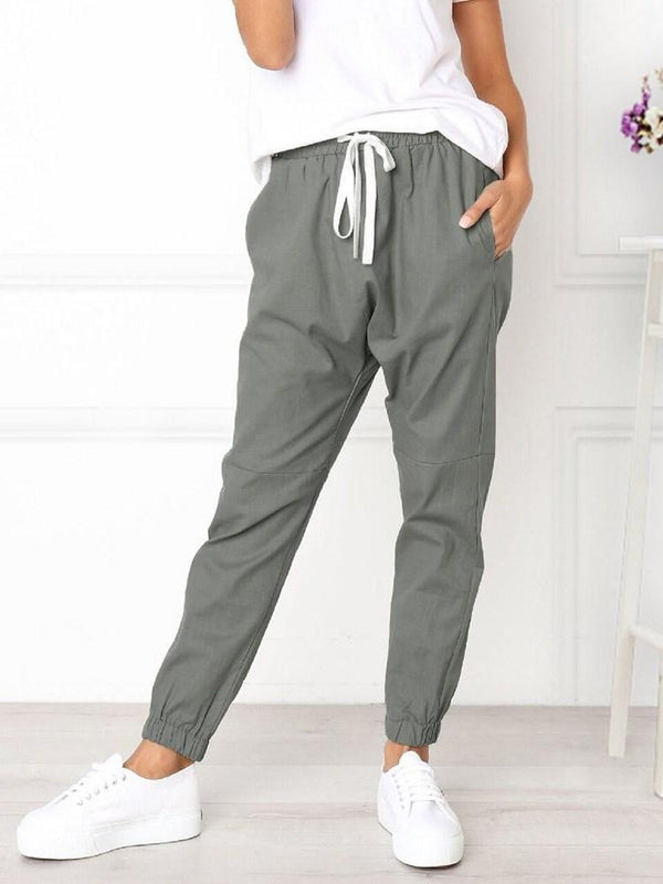 Pleated Plain Loose Ankle Length Mid Waist Casual Pants