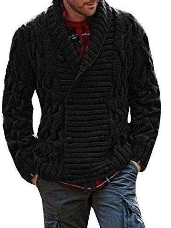 Lapel Standard Plain Double-Breasted European Sweater