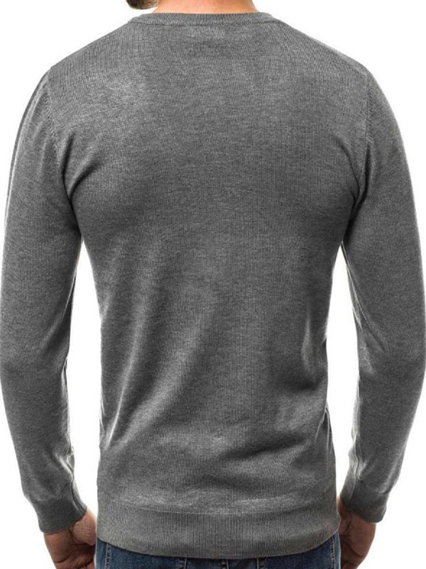 Plain Standard V-Neck Slim Single-Breasted Sweater