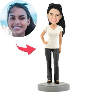 Casual Female Custom Bobblehead