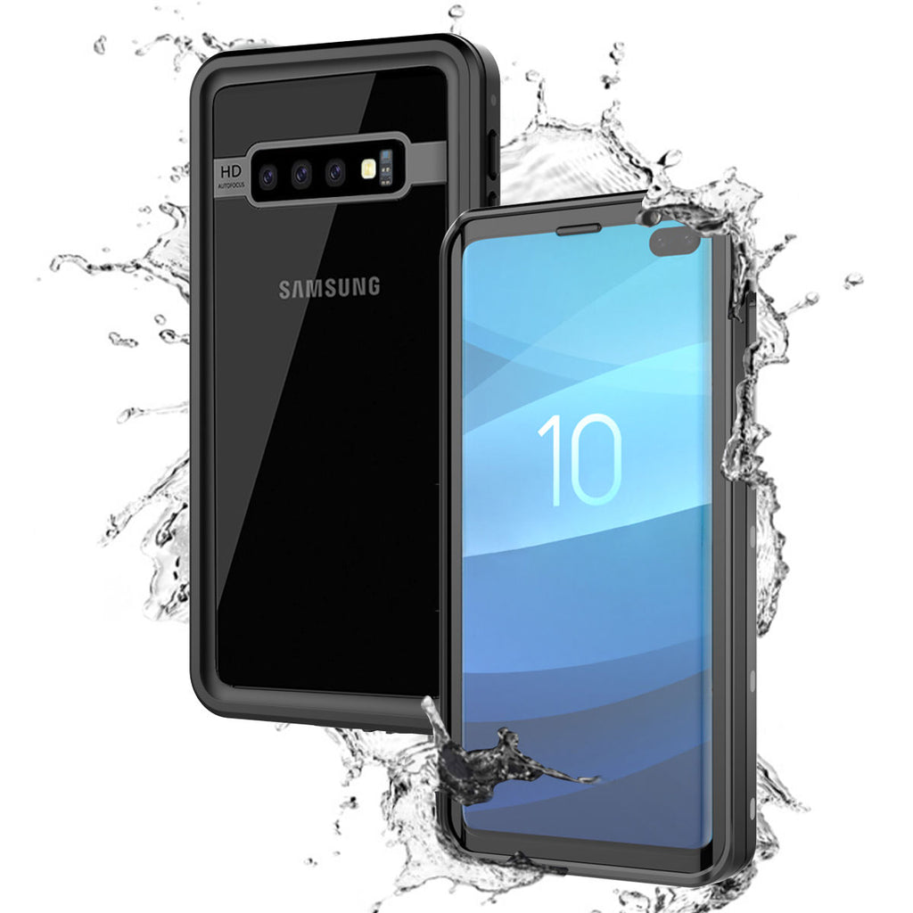 Samsung Galaxy S10 Plus Waterproof Case IP68 Certified with Built in Screen Protector Best Front Protection Dots Pattern Black