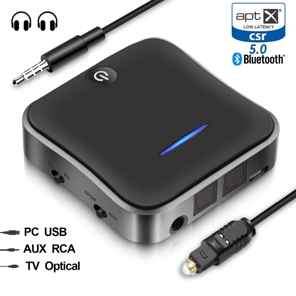 Bluetooth 5.0 Transmitter and Receiver TX & RX Mode 3.5mm Wireless Audio Adapter