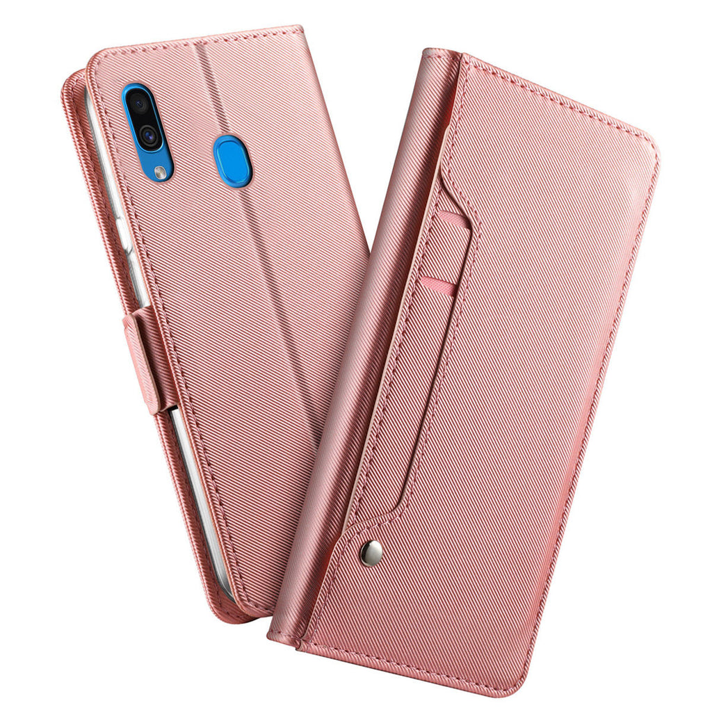 Galaxy A20 Wallet Case with Card Holder Kickstand Mirror for Women Rose Gold