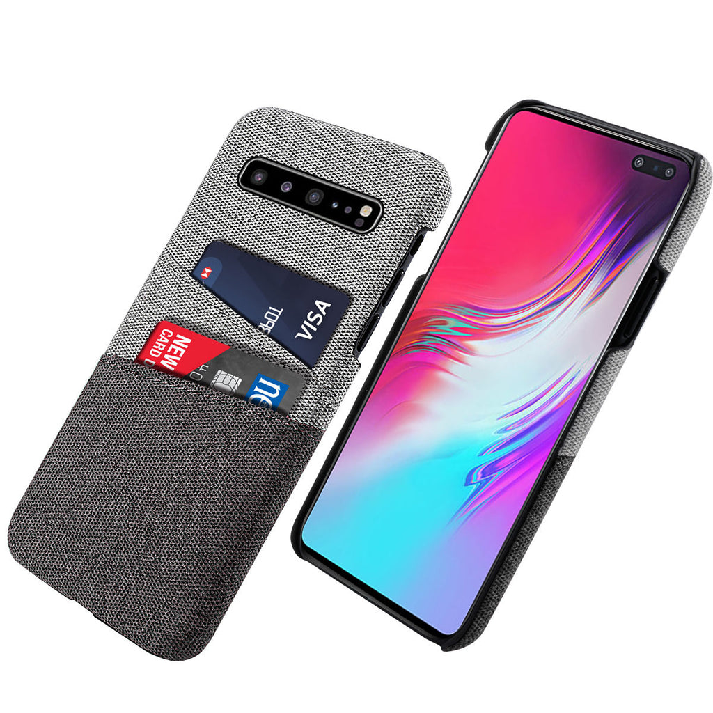 Galaxy S10 5G Case Fabric Cover Wallet Card Slots Hard Case Black