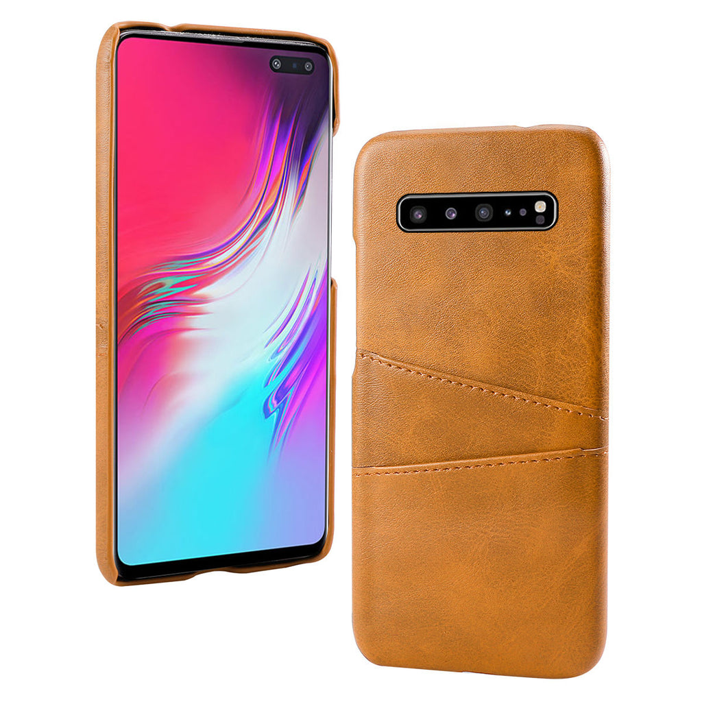 Galaxy S10 5G Case with Card Holder Scratch Resistant Bumper Case Orange