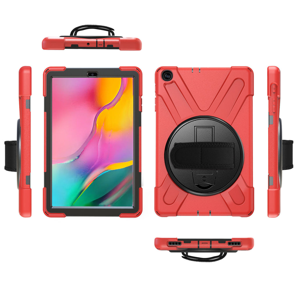 Samsung Galaxy Tab A 10.1 Case for Tab A 10.1'' T510 / T515 Heavy Duty Shockproof Rugged Cover Red