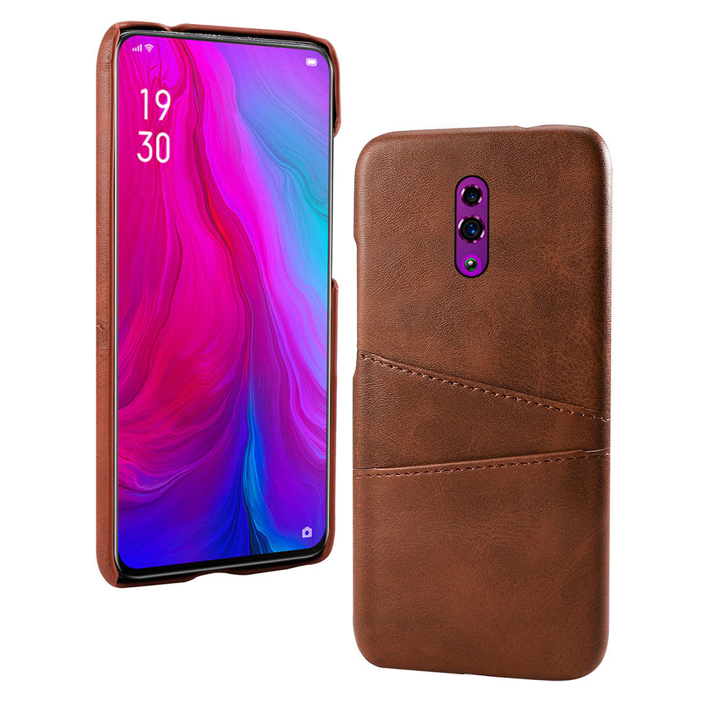 OPPO Reno Case PC Impact Resistant Ultra Thin Hard Cover Card Slots Dark Brown