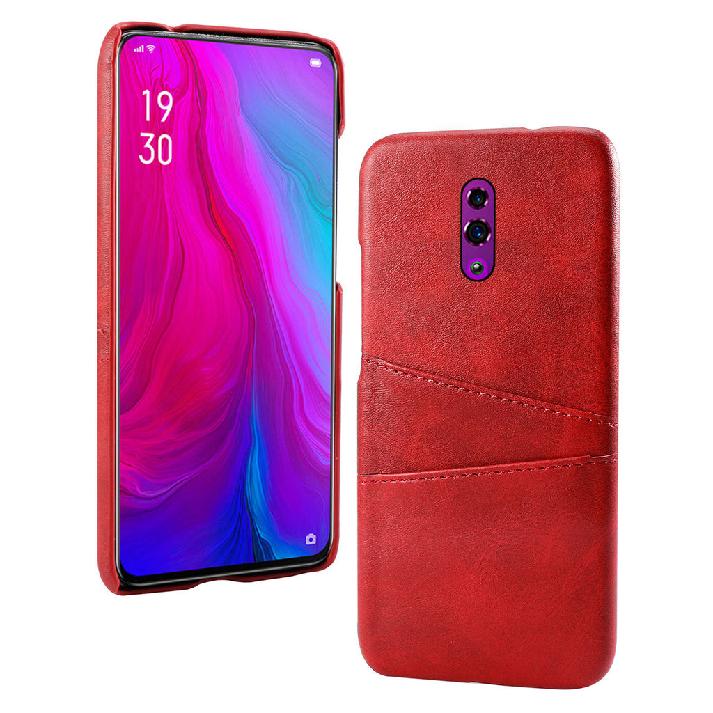 OPPO Reno Case with Card Holder PC Thicken Shockproof Ultra Thin Cover Red