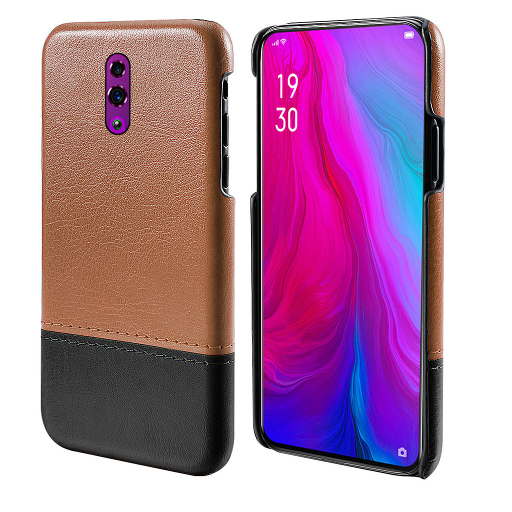 OPPO Reno Case Slim PU Leather Splicing Protective Cover with Reinforced Corners Brown+Black