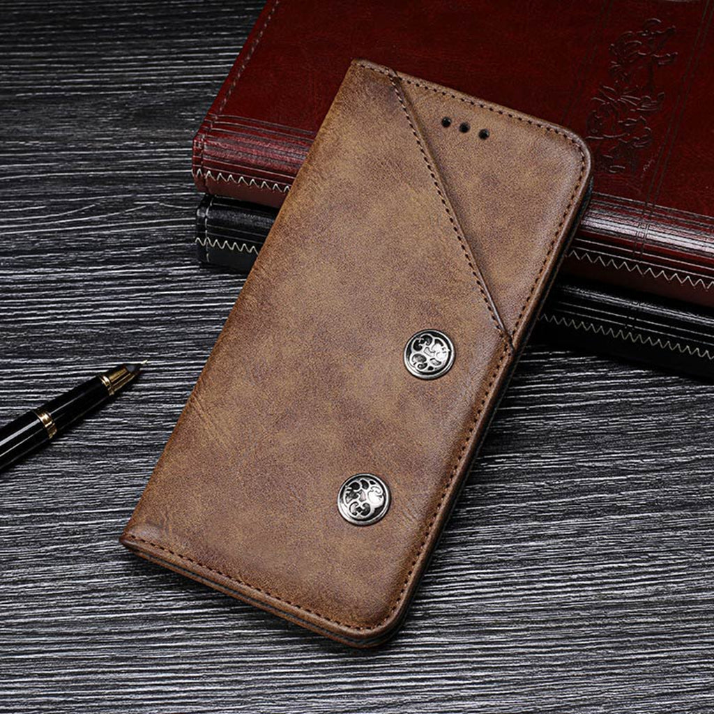 OPPO Reno Leather Case Vintage PU Credit Card Hoder Protective Cover Brown