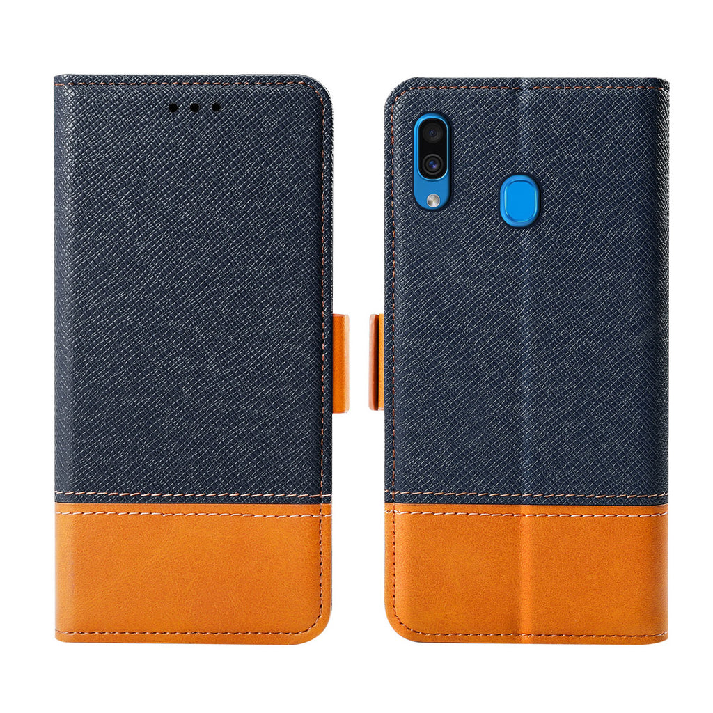 Samsung Galaxy A20 Wallet Case with Card Slots Contrast Color Flip Stand Blue