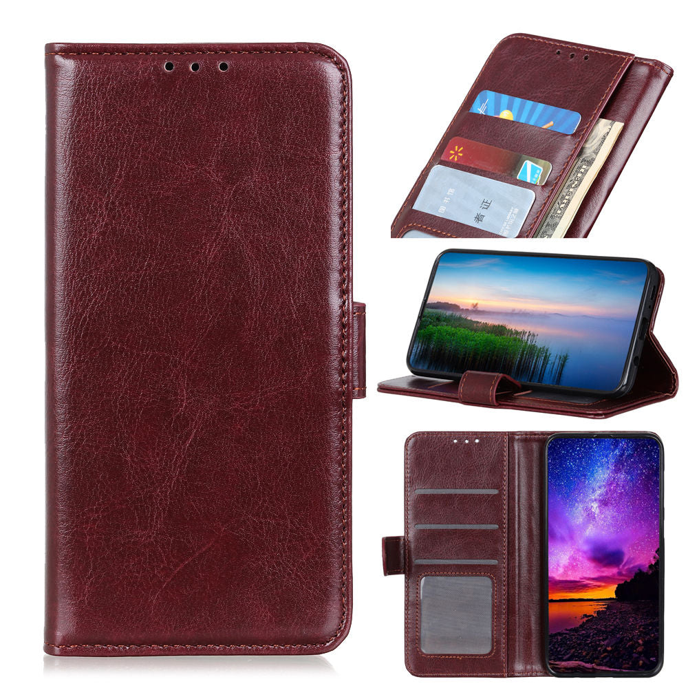 Samsung Galaxy S10 5G Wallet Case Folio Stand Cover with Credit Card Holder Brown