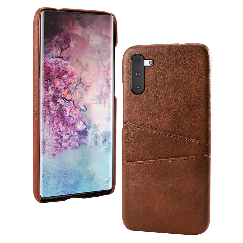 Phone case for Samsung Galaxy Note 10 with card slots leather back cover brown