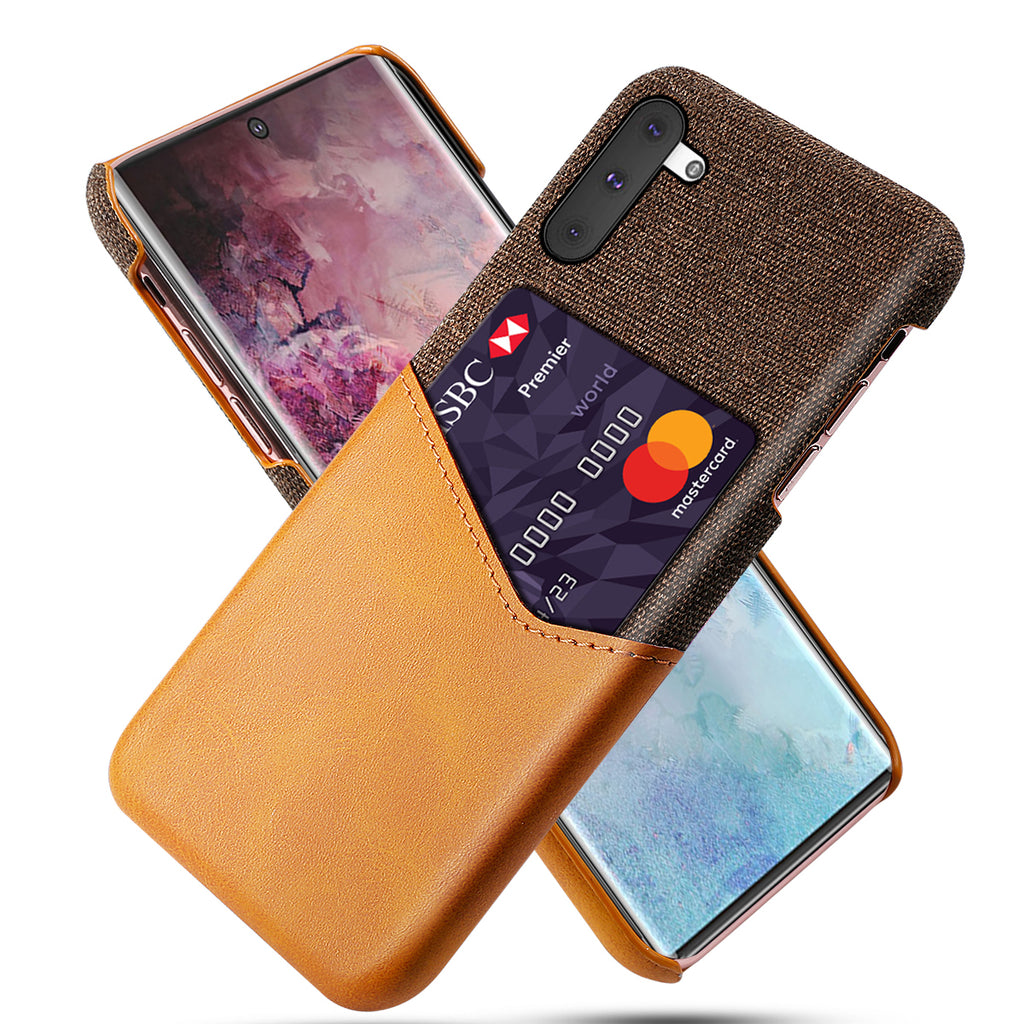 Samsung Galaxy Note 10 Case Fabric Leather Rugged Phone Cover with Card Holder Orange