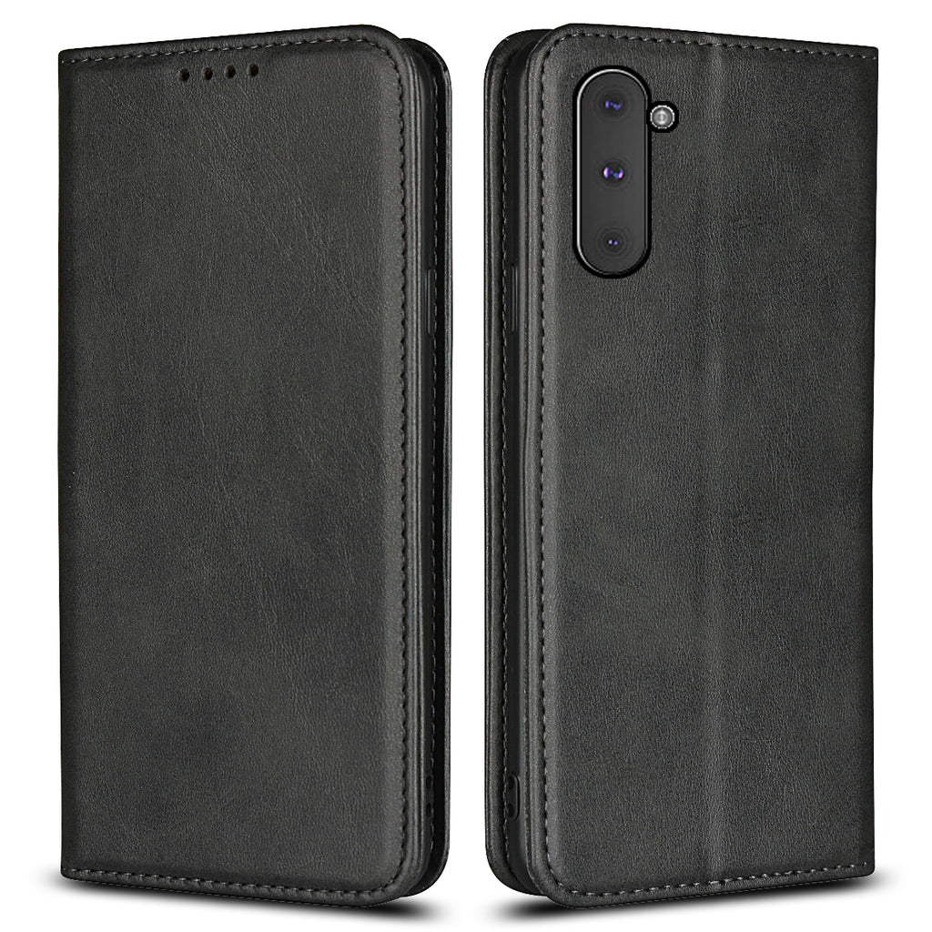 Leather Wallet Cases for Galaxy Note 10 with Card Slots Magnetic Closure Black