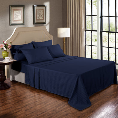 Kensington 1200TC Ultra Soft 100% Egyptian Cotton Sheet Set In Stripe - Single - Navy