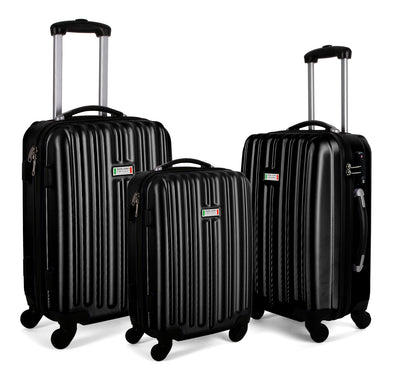 Milano ABS Luxury Shockproof Luggage 3pc Set Black