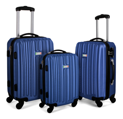 Milano ABS Luxury Shockproof Luggage 3pc Set Blue