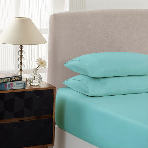 Royal Comfort 1500 Thread count Cotton Blend 3 Piece Fitted sheet Set Queen Mist