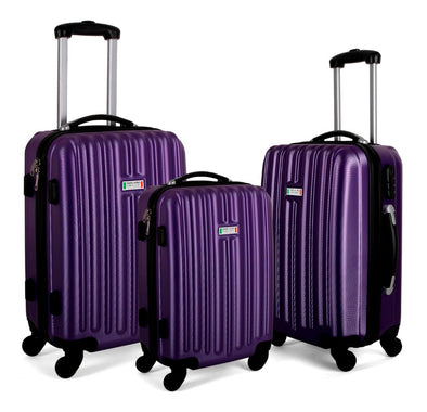 Milano ABS Luxury Shockproof Luggage 3pc Set Purple